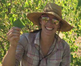 Hillary Cooper holding cottonwood leaf